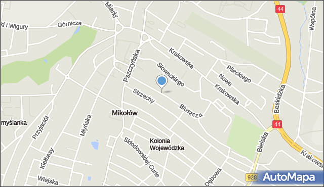 Mikołów, Bluszcza Jana, mapa Mikołów