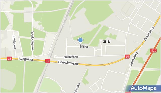 Toruń, Bliska, mapa Torunia