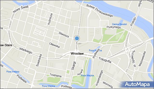 Wrocław, bł. Czesława, mapa Wrocławia