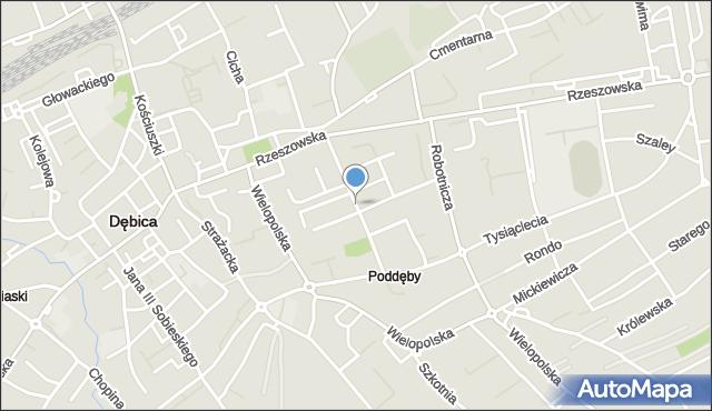 Dębica, Bojanowskiego, mapa Dębicy