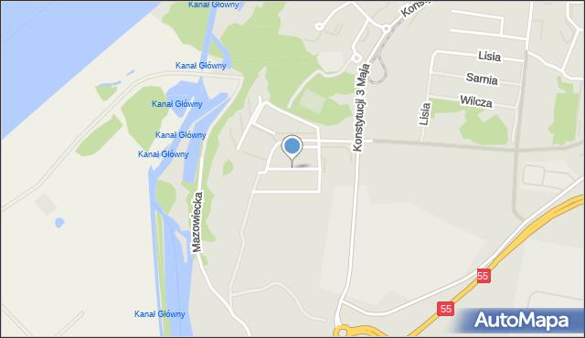 Grudziądz, Borówkowa, mapa Grudziądza