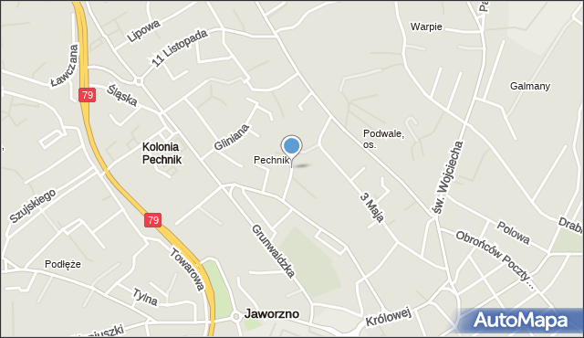 Jaworzno, Boczna, mapa Jaworzno