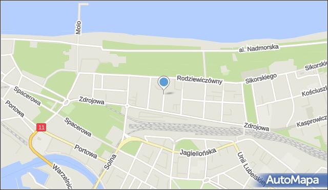 Kołobrzeg, Borzymowskiego Marcina, mapa Kołobrzegu