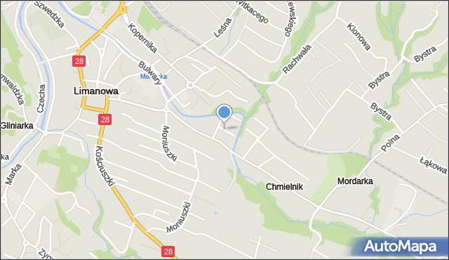 Limanowa, Boczna, mapa Limanowa