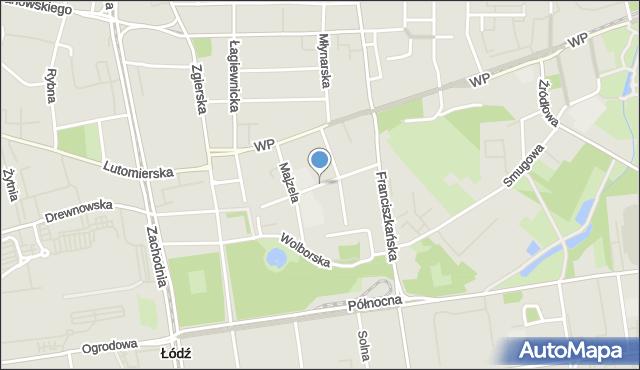 Łódź, Bojowników Getta Warszawskiego, mapa Łodzi