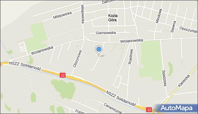 Radom, Borówkowa, mapa Radomia