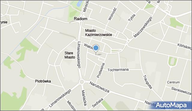 Radom, Bóżniczna, mapa Radomia