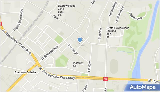 Rzeszów, Bolesława Krzywoustego, mapa Rzeszów