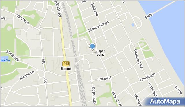 Sopot, Bohaterów Monte Cassino, mapa Sopotu