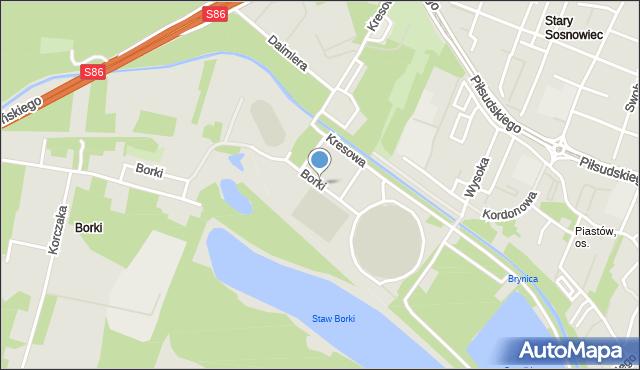 Sosnowiec, Borki, mapa Sosnowca