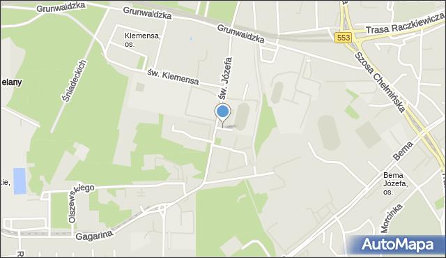 Toruń, Boczna, mapa Torunia