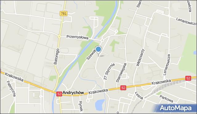 Andrychów, Brzegi, mapa Andrychów