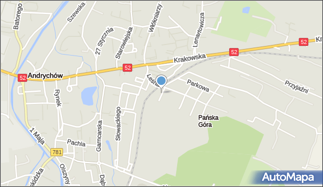 Andrychów, Brzozowa, mapa Andrychów