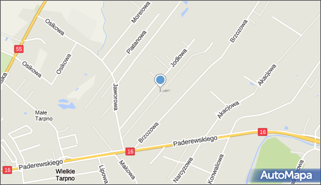 Grudziądz, Brzoskwiniowa, mapa Grudziądza