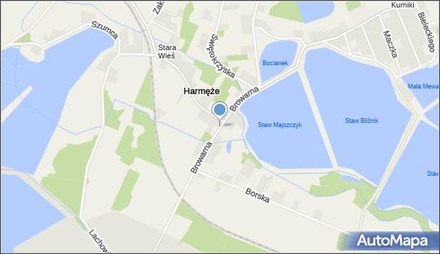 Harmęże, Browarna, mapa Harmęże