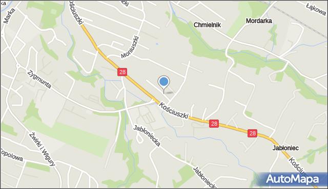 Limanowa, Brożka Maksymiliana, mapa Limanowa