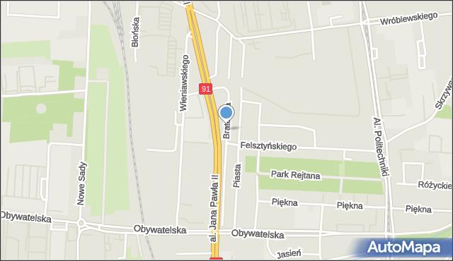 Łódź, Braterska, mapa Łodzi