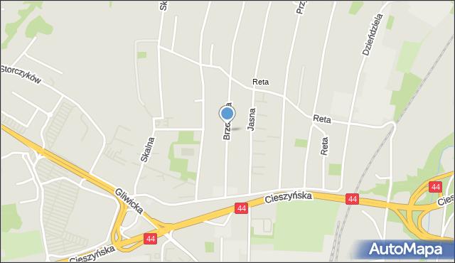 Mikołów, Brzozowa, mapa Mikołów