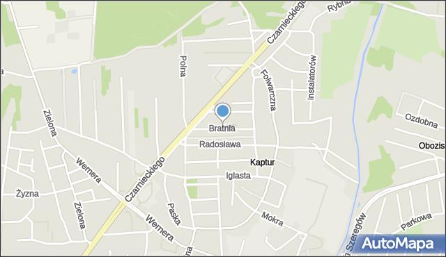 Radom, Bratnia, mapa Radomia