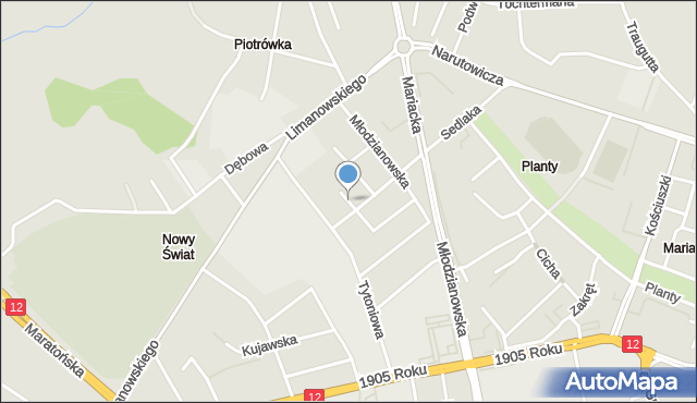 Radom, Browarna, mapa Radomia