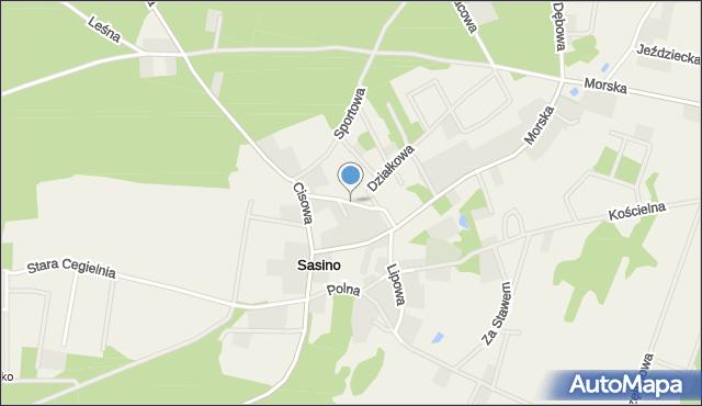 Sasino, Brukowa, mapa Sasino