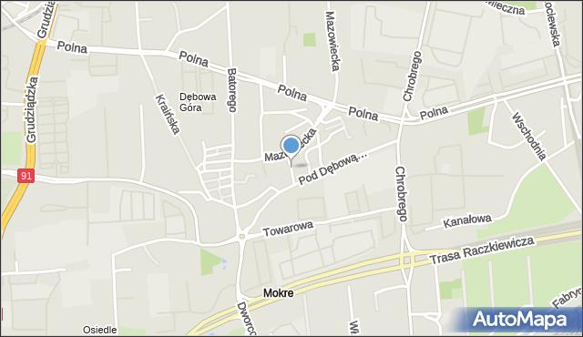 Toruń, Brody Jana, inż., mapa Torunia