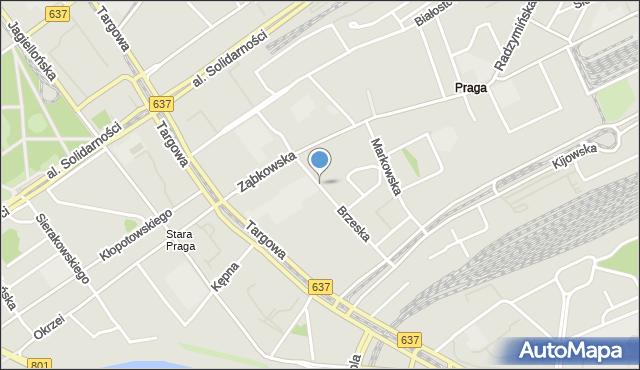 Warszawa, Brzeska, mapa Warszawy