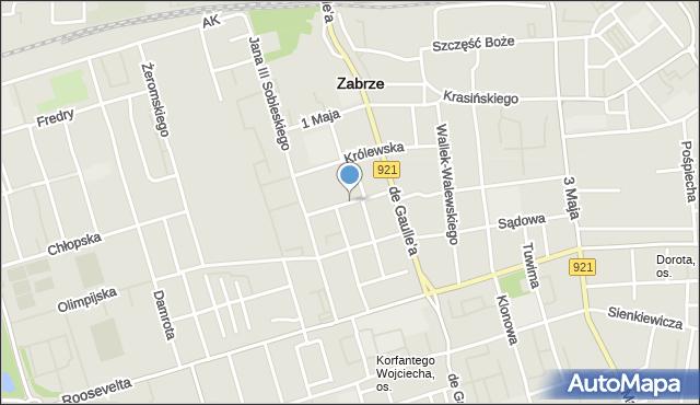 Zabrze, Brodzińskiego Kazimierza, mapa Zabrza