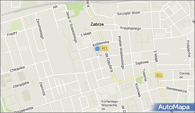 Zabrze, Brzóski Stanisława, ks., mapa Zabrza