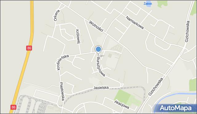 Będzin, Bursztynowa, mapa Będzin