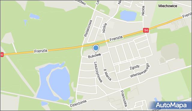 Bytom, Bukowa, mapa Bytomia