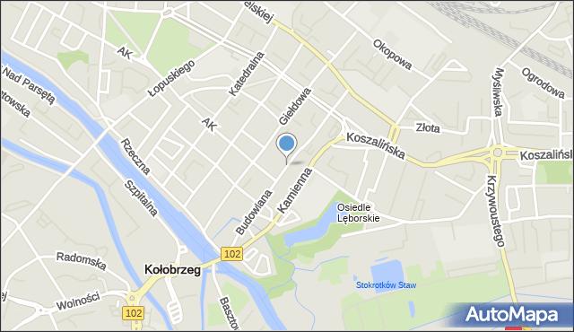 Kołobrzeg, Budowlana, mapa Kołobrzegu