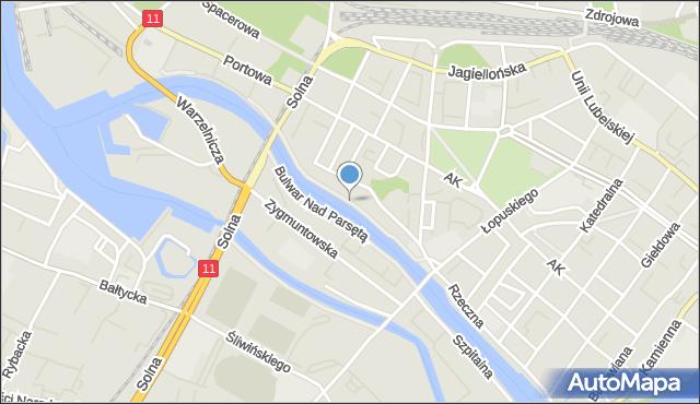 Kołobrzeg, Bulwar Marynarzy Okrętów Pogranicza, mapa Kołobrzegu