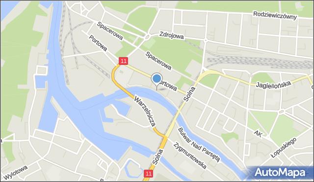 Kołobrzeg, Bulwar Zacisze, mapa Kołobrzegu