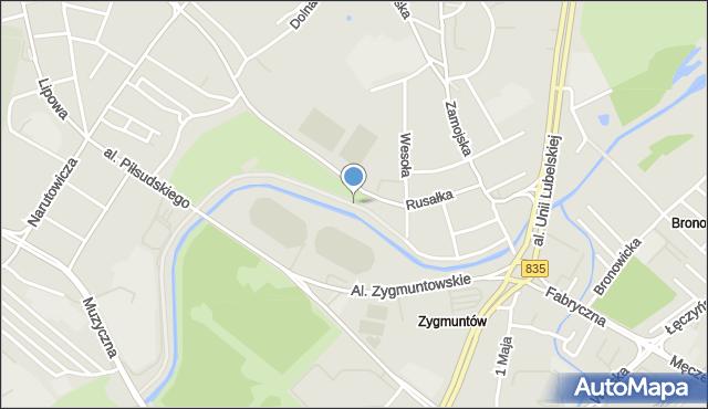 Lublin, Bulwar Zalewskiego Stanisława, mapa Lublina