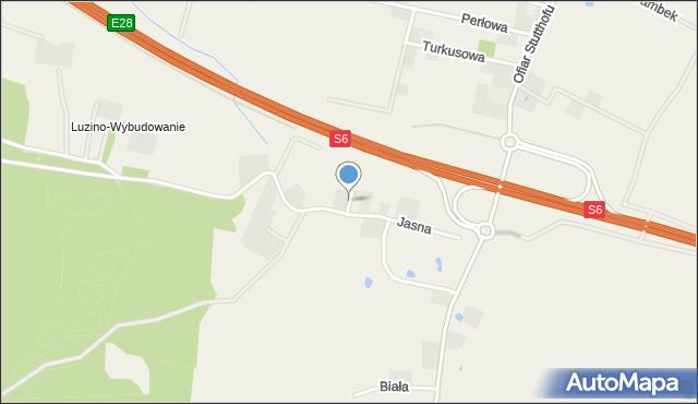 Luzino, Bursztynowa, mapa Luzino