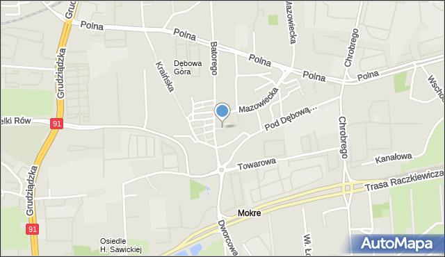 Toruń, Bukiewicz Wandy, mapa Torunia