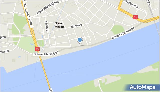 Toruń, Bulwar Filadelfijski, mapa Torunia
