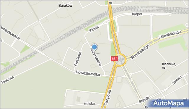 Warszawa, Burakowska, mapa Warszawy