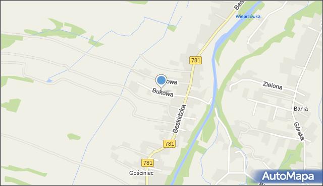 Wieprz powiat wadowicki, Bukowa, mapa Wieprz powiat wadowicki