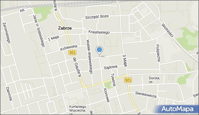 Zabrze, Buchenwaldczyków, mapa Zabrza