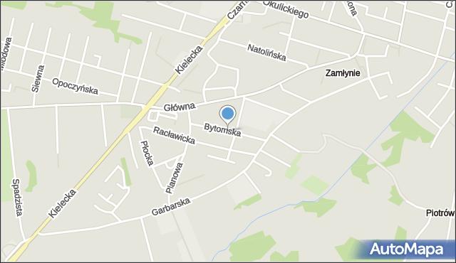 Radom, Bytomska, mapa Radomia