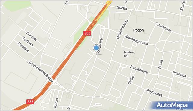 Sosnowiec, Bydgoska, mapa Sosnowca