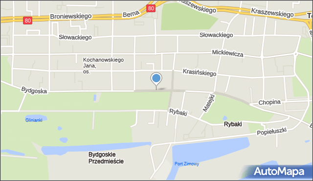 Toruń, Bydgoska, mapa Torunia