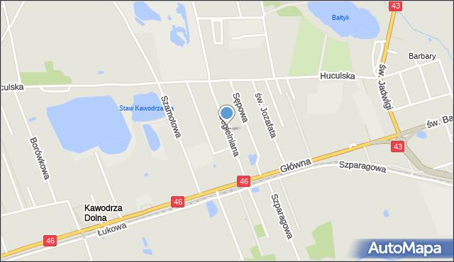 Częstochowa, Cegielniana, mapa Częstochowy