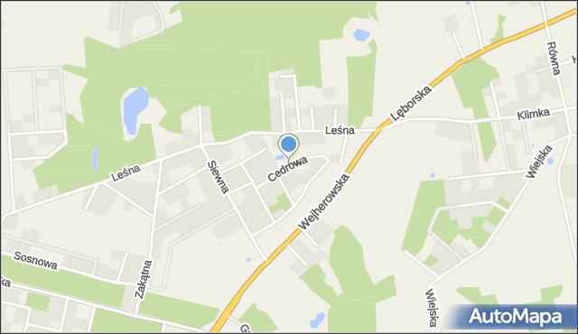 Kębłowo gmina Luzino, Cedrowa, mapa Kębłowo gmina Luzino