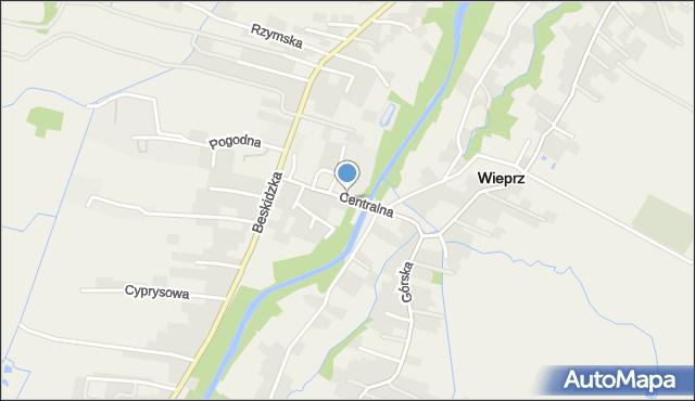 Wieprz powiat wadowicki, Centralna, mapa Wieprz powiat wadowicki