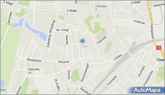 Chorzów, Chałupki, mapa Chorzów