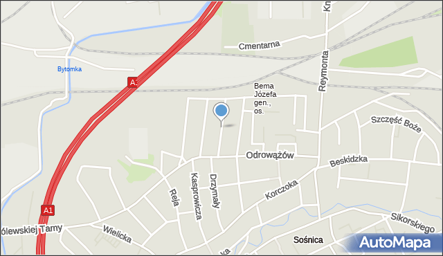Gliwice, Chodźki Ignacego, mapa Gliwic