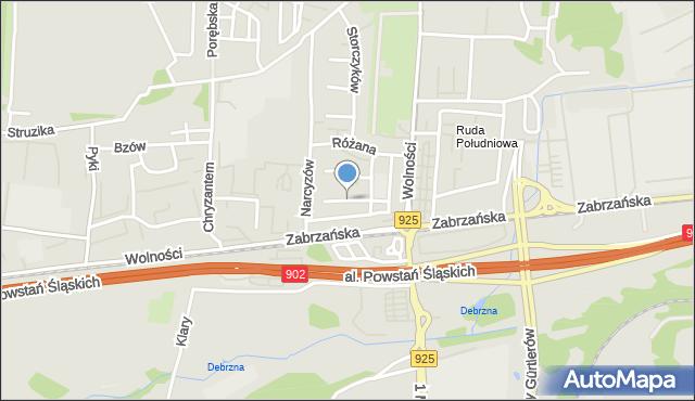 Ruda Śląska, Chabrów, mapa Rudy Śląskiej